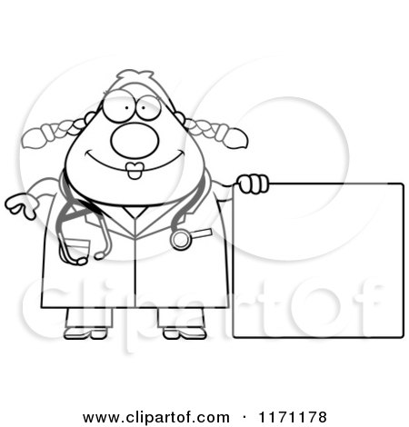 Cartoon Clipart Of A Happy Female Surgeon Doctor Or Veterinarian With Sign