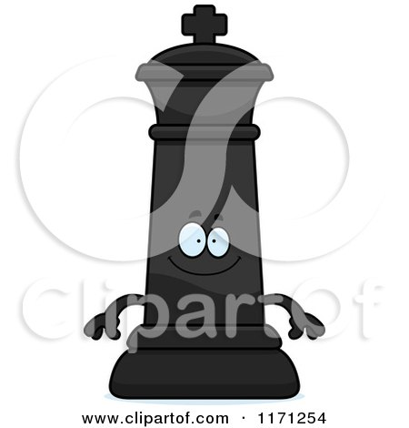 Cartoon of a Happy Black Chess King - Royalty Free Vector Clipart by Cory Thoman