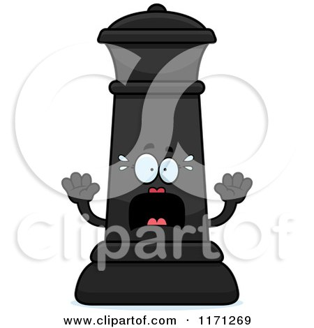Cartoon Of A Screaming Black Chess Queen Mascot Royalty