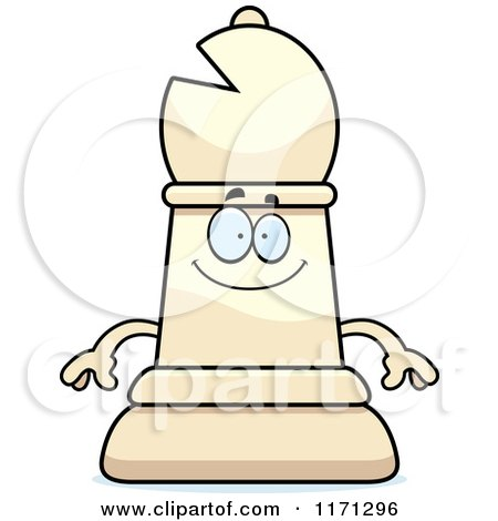 Cartoon of a Happy White Chess Bishop Piece - Royalty Free Vector Clipart by Cory Thoman