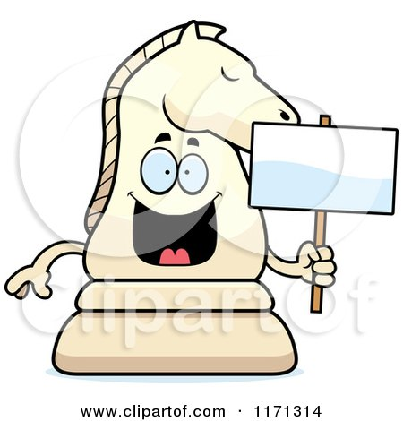 Cartoon of a Happy White Chess Knight Mascot Holding a Sign - Royalty Free Vector Clipart by Cory Thoman