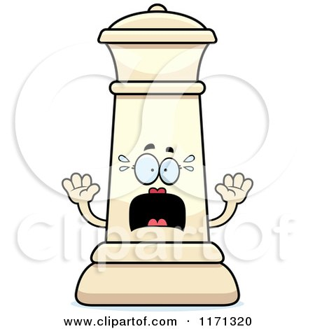 Cartoon of a Screaming White Chess Queen Mascot - Royalty Free Vector Clipart by Cory Thoman