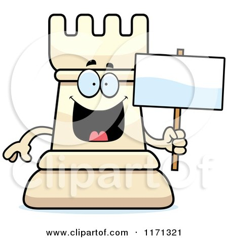 Cartoon of a Happy White Chess Rook Mascot Holding a Sign - Royalty Free Vector Clipart by Cory Thoman