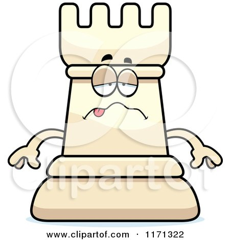 Cartoon of a Sick White Chess Rook Mascot - Royalty Free Vector Clipart by Cory Thoman