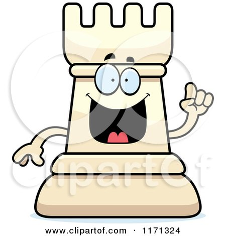 Cartoon of a Smart White Chess Rook Mascot with an Idea - Royalty Free Vector Clipart by Cory Thoman