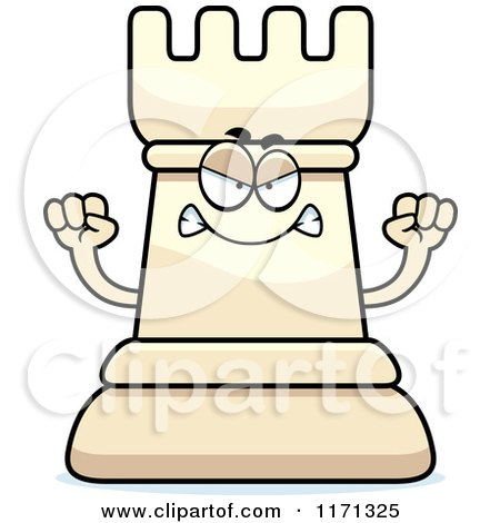 Cartoon of a Mad White Chess Rook Mascot - Royalty Free Vector Clipart by Cory Thoman