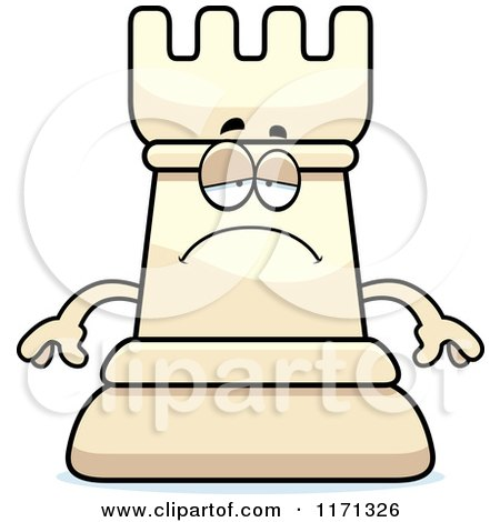 Cartoon of a Depressed White Chess Rook Mascot - Royalty Free Vector Clipart by Cory Thoman