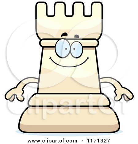 Cartoon of a Happy White Chess Rook Mascot - Royalty Free Vector Clipart by Cory Thoman