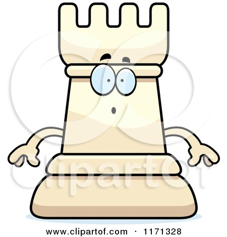 Cartoon of a Surprised White Chess Rook Mascot - Royalty Free Vector Clipart by Cory Thoman