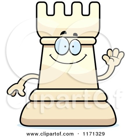 Cartoon of a Waving White Chess Rook Mascot - Royalty Free Vector Clipart by Cory Thoman