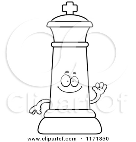 Cartoon Clipart Of A Waving Black Chess King
