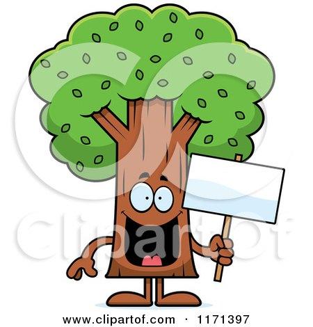 Cartoon Clipart Of A Happy Tree