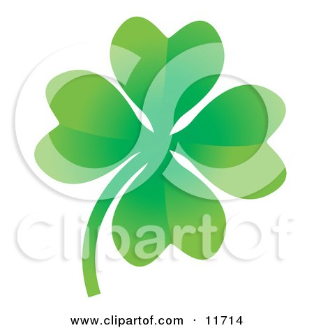 Royalty-free clipart picture of a lucky four leaf clover.