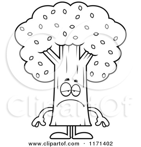 Cartoon Clipart Of A Depressed Tree Mascot - Vector Outlined Coloring Page by Cory Thoman