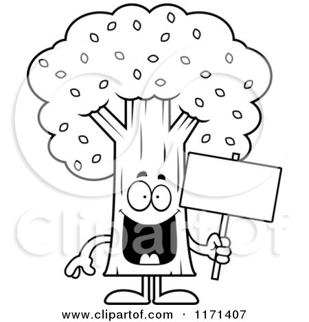 Black And White Happy Tree Mascot Holding A Sign Posters Art Prints