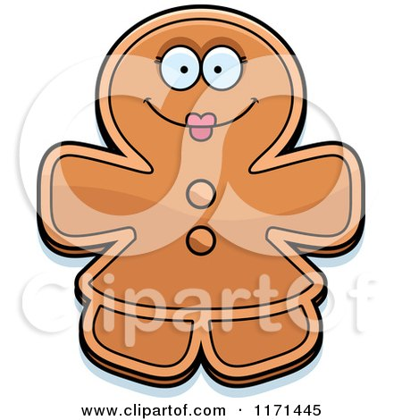 Cartoon of a Happy Gingerbread Woman Mascot - Royalty Free Vector Clipart by Cory Thoman