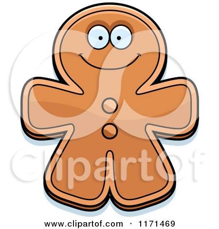 Cartoon of a Happy Gingerbread Man Mascot - Royalty Free Vector Clipart by Cory Thoman
