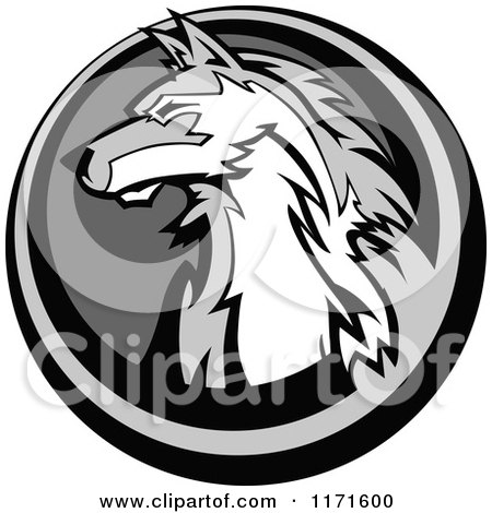 Grayscale Wolf Head in a Circle Posters, Art Prints
