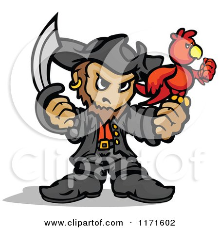 Cartoon of a Tough Pirate Holding a Sword and Parrot - Royalty Free Vector Clipart by Chromaco