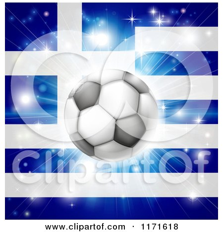 Clipart of a Soccer Ball over a Greek Flag with Fireworks - Royalty Free Vector Illustration by AtStockIllustration