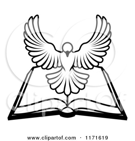 Cartoon of a Black and White Holy Spirit Dove Above an Open Bible - Royalty Free Vector Clipart by AtStockIllustration