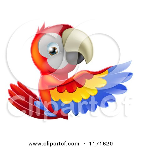 Cartoon of a Happy Macaw Parrt Presenting a Sign - Royalty Free Vector Clipart by AtStockIllustration