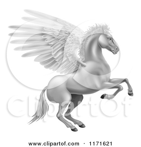 Clipart of a Silver Winged Pegasus Horse Rearing - Royalty Free Vector Illustration by AtStockIllustration