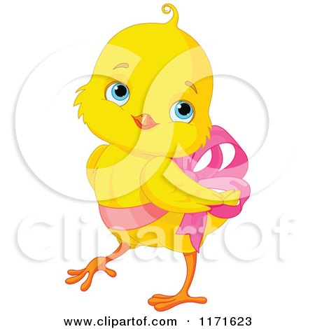 Cartoon of a Cute Easter Chick Wearing a Pink Easter Bow ...