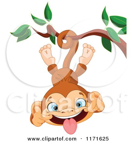 Cartoon of a Silly Monkey Making a Funny Face and Hanging Upside down from a Branch - Royalty Free Vector Clipart by Pushkin