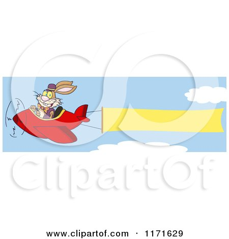 Cartoon of a Bunny Rabbit Flying an Airplane with a Banner - Royalty Free Vector Clipart by Hit Toon