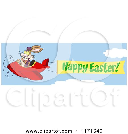 Cartoon of a Bunny Rabbit Flying an Airplane with a Happy Easter Banner - Royalty Free Vector Clipart by Hit Toon