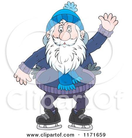 Cartoon of a Happy Senior Man Waving While Ice Skating - Royalty Free Vector Clipart by Alex Bannykh