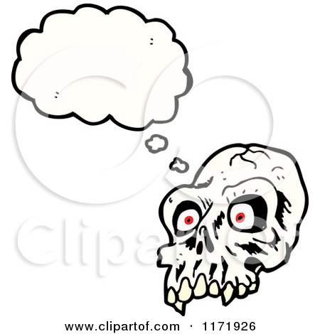 Cartoon of a Thinking Alien Skull - Royalty Free Vector Clipart by lineartestpilot