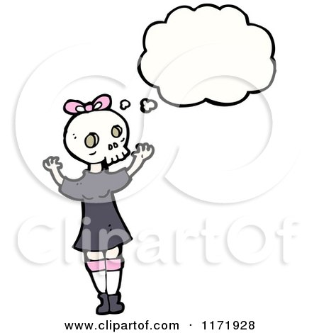 Cartoon of a Thinking Girl in a Skull Mask - Royalty Free Vector Clipart by lineartestpilot