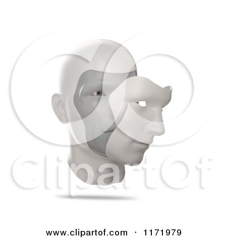 Clipart of a 3d Human Face with a Mask Slightly Removed - Royalty Free CGI Illustration by Mopic