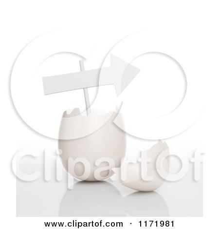 Clipart of a 3d Arrow Sign in a Cracked Egg - Royalty Free CGI Illustration by Mopic