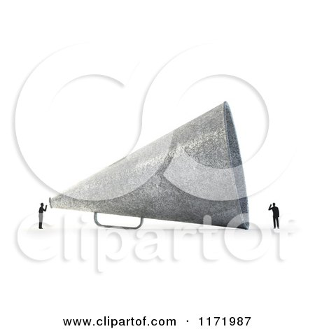 Clipart of a 3d Tiny Person Speaking to Another Through a Giant Megaphone, on White - Royalty Free CGI Illustration by Mopic