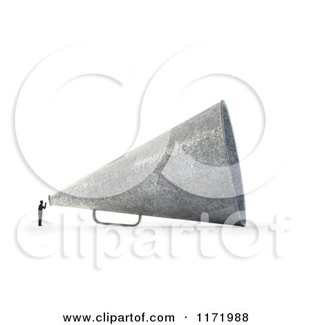 Clipart of a 3d Tiny Person Speaking Through a Giant Megaphone, over White - Royalty Free CGI Illustration by Mopic