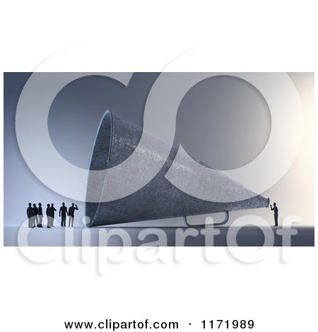 Clipart of a 3d Tiny Person Speaking to a Group Through a Giant Megaphone - Royalty Free CGI Illustration by Mopic