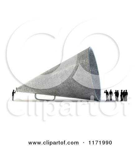 Clipart of a 3d Tiny Person Speaking to a Group Through a Giant Megaphone, on White - Royalty Free CGI Illustration by Mopic