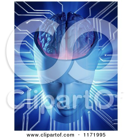 Clipart of a 3d Artificial Intelligence Head and Brain with Connections - Royalty Free CGI Illustration by Mopic