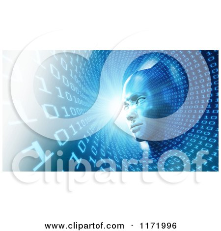 Clipart of a 3d Head in a Blue Binary Tunnel - Royalty Free CGI Illustration by Mopic