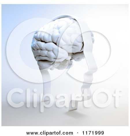 Clipart of a 3d Head Frame with a White Brain, on Shading - Royalty Free CGI Illustration by Mopic