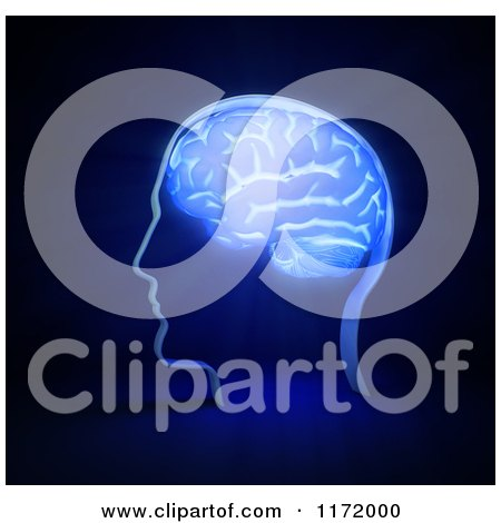 Clipart of a 3d Glowing Brain in a Head, on Blue - Royalty Free CGI Illustration by Mopic