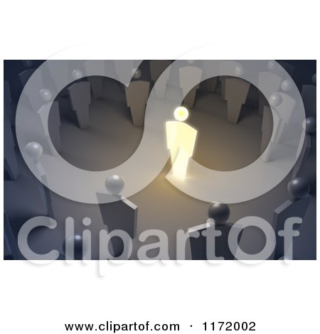 Clipart of a 3d Glowing Leader Speaking in the Center of the Crowd - Royalty Free CGI Illustration by Mopic