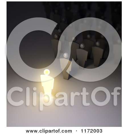 Clipart of a 3d Glowing Leader Speaking to a Crowd - Royalty Free CGI Illustration by Mopic