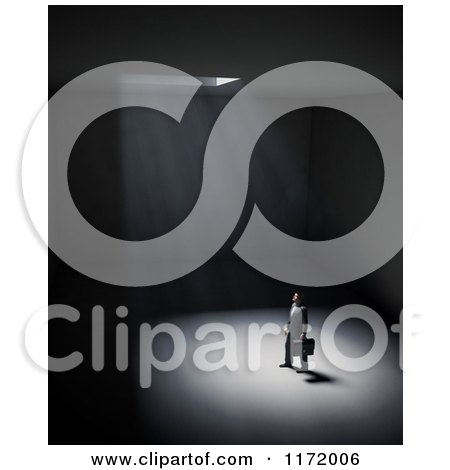 Clipart of a 3d Lone Man Standing in a Dark Room with Light Shining down from a Ceiling - Royalty Free CGI Illustration by Mopic