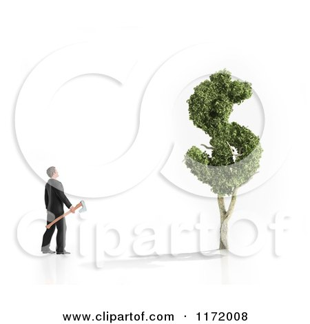 Clipart of a 3d Man with an Axe Looking Upat a Dollar Tree - Royalty Free CGI Illustration by Mopic