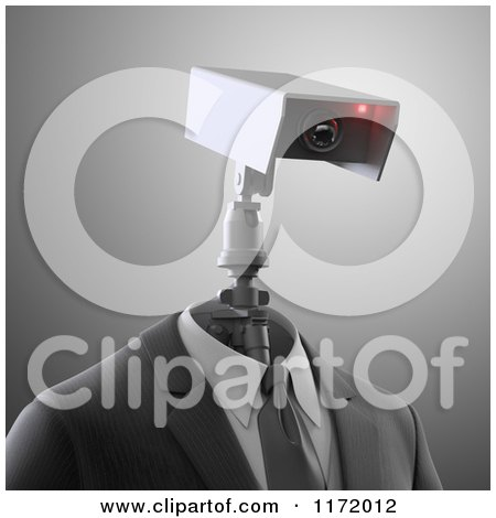 Clipart of a 3d Robot Security Camera in a Suit, over Gray - Royalty Free CGI Illustration by Mopic