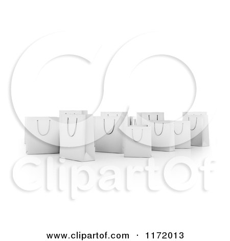 Clipart of 3d White Shopping Bags in a Group, on White - Royalty Free CGI Illustration by Mopic